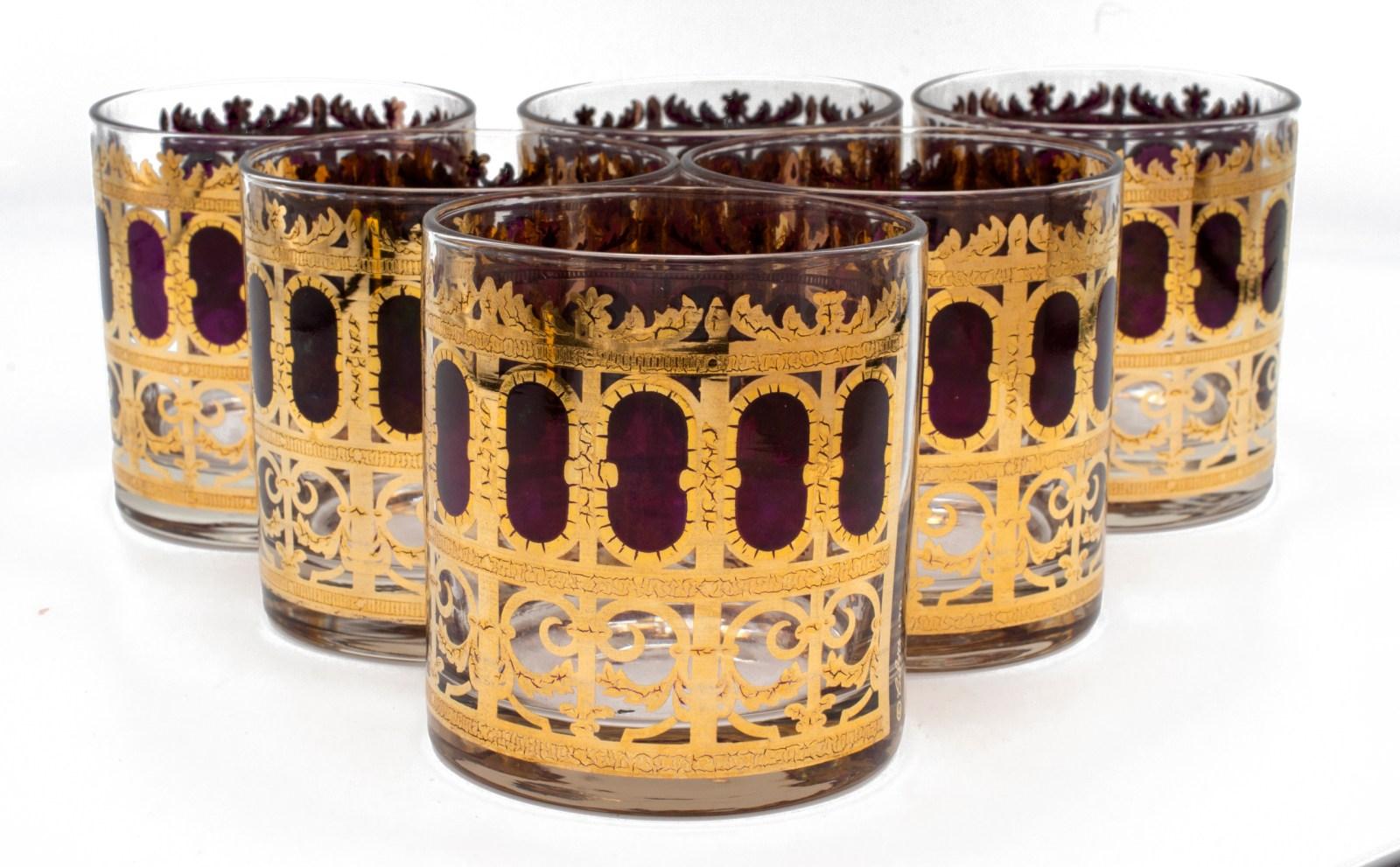 "Culver ""Cranberry Scroll"" Cranberry & 22k Gold Rocks Glasses, Set of Six (6)"
