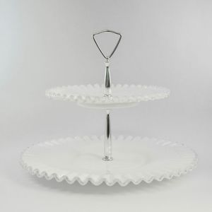 two-tiered milk glass tray