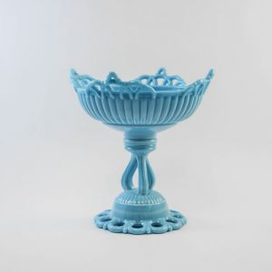 blue milk glass compote - lace edge