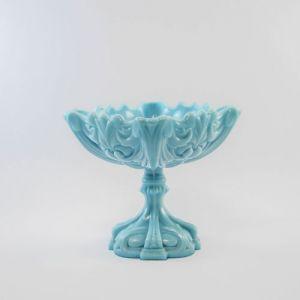 blue milk glass compote