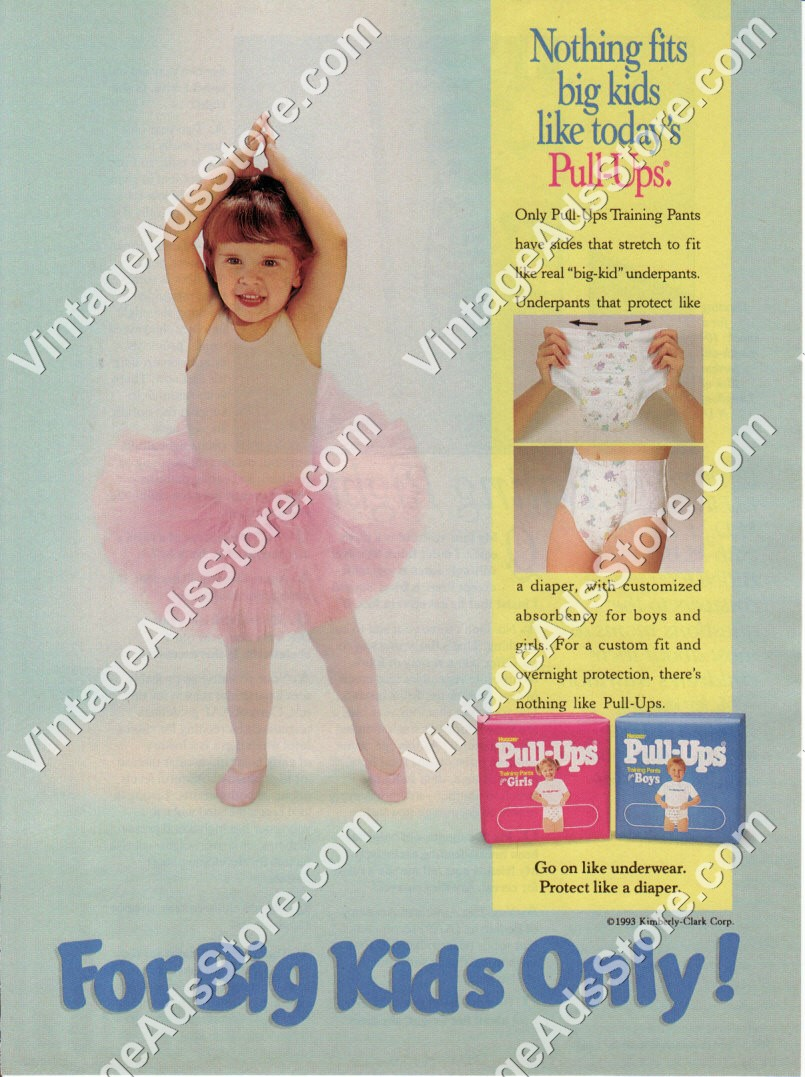 1993 – Huggies Pull-Ups – Training Pants Diapers – For Big Kids Only –  toddler – babies – 1 Page Ad