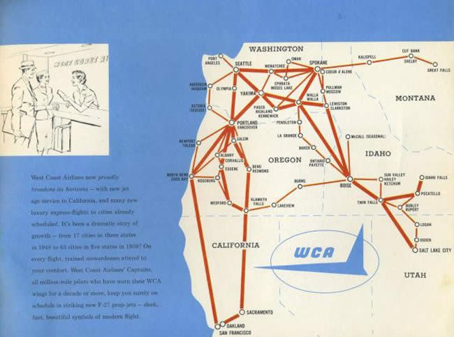 West Coast Airlines, the Regional Airline – Vintage Airliners on central airlines route map, air niugini route map, iberia route map, twa route map, national airlines route map, eastern air lines route map, horizon air route map, republic airlines route map, delta air lines route map, aeroperu route map, american airlines route map, skywest airlines route map, air south route map, luxair route map, great northern route map, compass airlines route map, british airways route map, alaska airlines route map, germanwings route map, aeroflot route map,