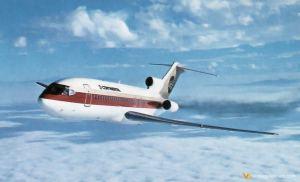 Continental B727-100 taking off LAX 1970s