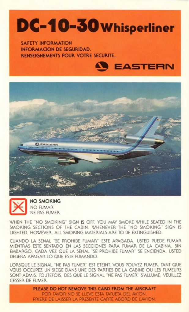 Eastern Air Lines DC-10-30 Safety Card -- Charles Reese Collection