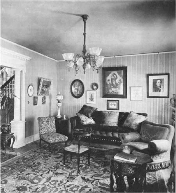 Combination gas and electric chandelier, ca. 1900.