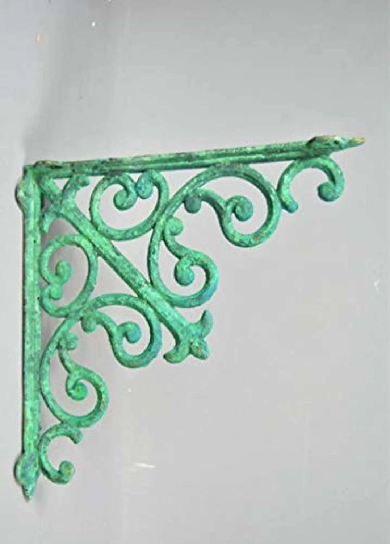 Ornate Wall Bracket Green Vintage Victorian Design Metal
