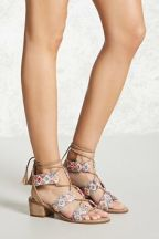 Forever21 Embroidered Ankle-Wrap Heels