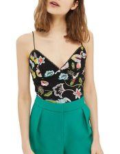 Hudsons Bay TOPSHOP Floral-Embroidered Bodysuit