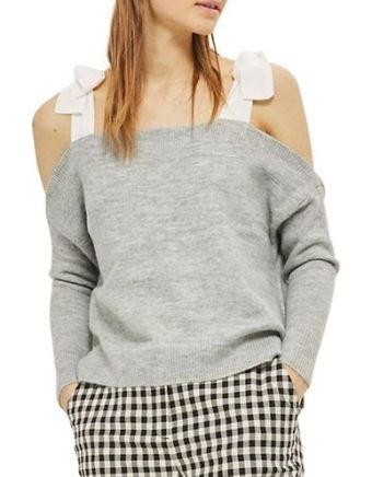 TOPSHOP Bow-Shoulder Sweater