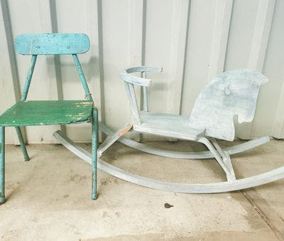 Groene Houten Kinderstoel Retro   Vintage Brabant