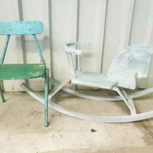 Groene Houten Kinderstoel Retro | Vintage Brabant