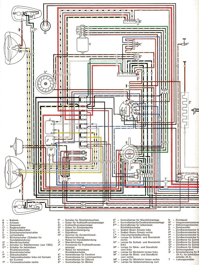 vw beetle wiring diagram 1972 wiring diagram thesamba type 1 wiring diagrams