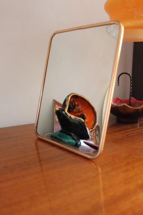 Miroir de barbier cerclage métal rosé
