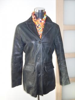 Veste longue en cuir vintage