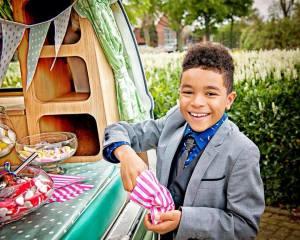 Sweet shop in volkswagon campervan for wedding