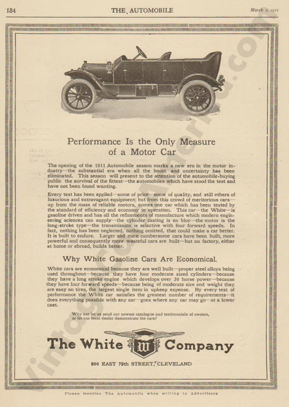 2/1/1911 White Advertisement