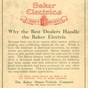 1911 Baker Electric Advertisement