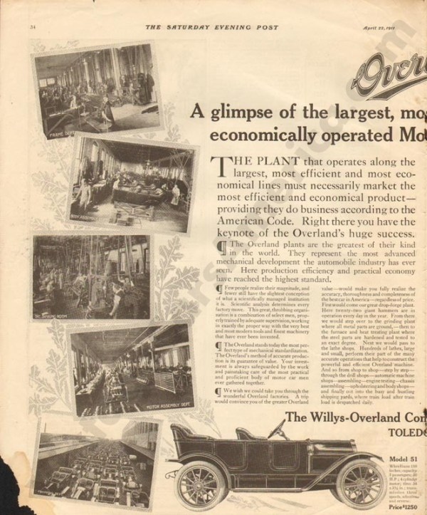 1911 Overland Advertisement #1