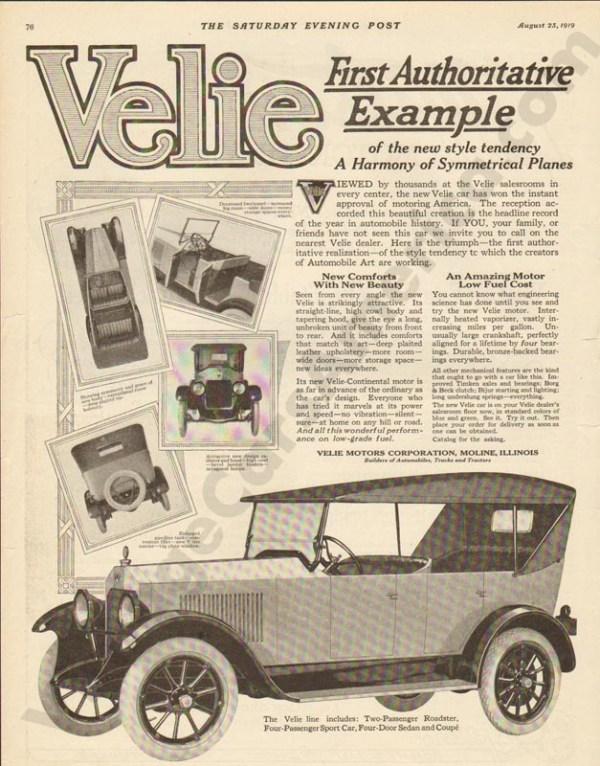 8/23/1919 Velie Advertisement