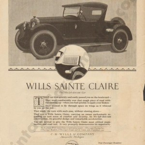 1921 Wills Saint Claire Advertisement #1