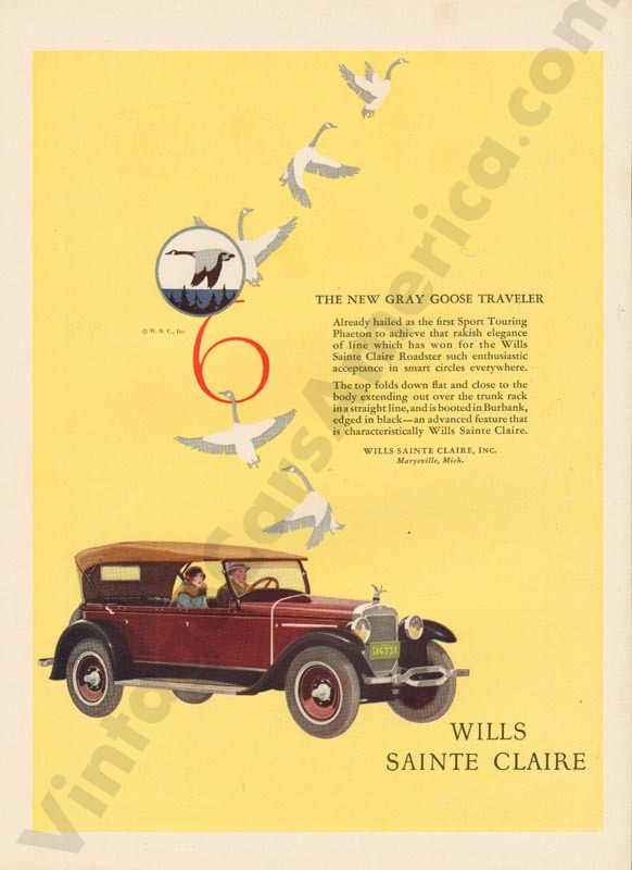 1926 Wills Saint Claire Advertisement #2