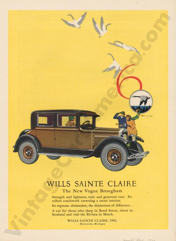 1926 Wills Saint Claire Advertisement #5