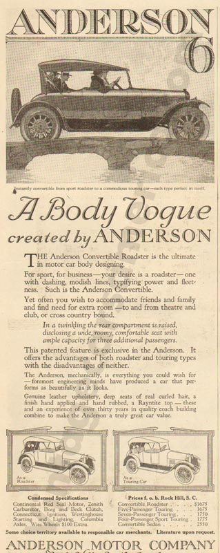 1920 Anderson Advertisement #4
