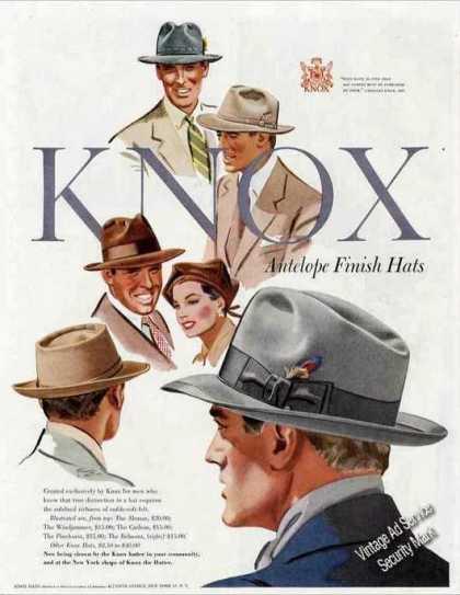 1950 mens knox hats ad 1960s Mens Fashion