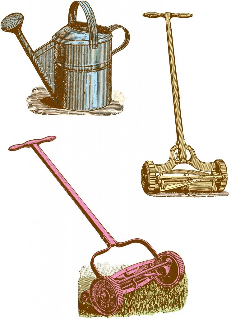 Vintage Clipart Garden Tools 1
