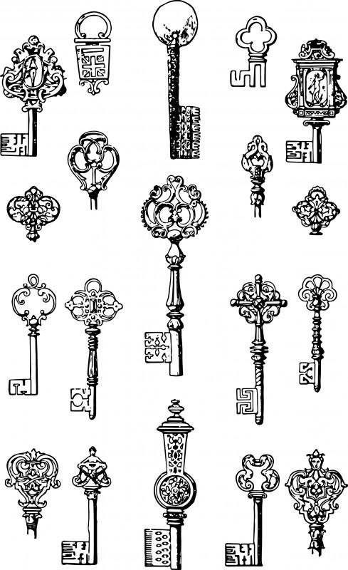 vgosn_vintage_keys_clip_art_image