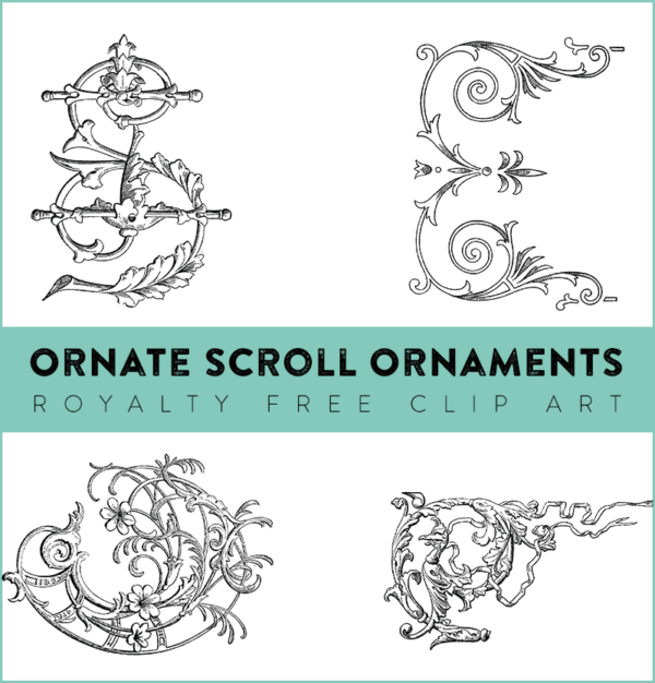 Royalty Free Clip Art - Ornate Scrollwork Ornaments
