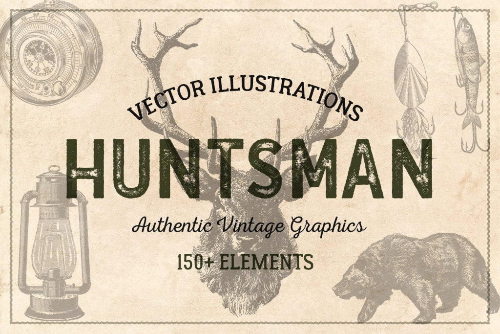 150 Vintage Hunting and Fishing Vectors with PNG Files