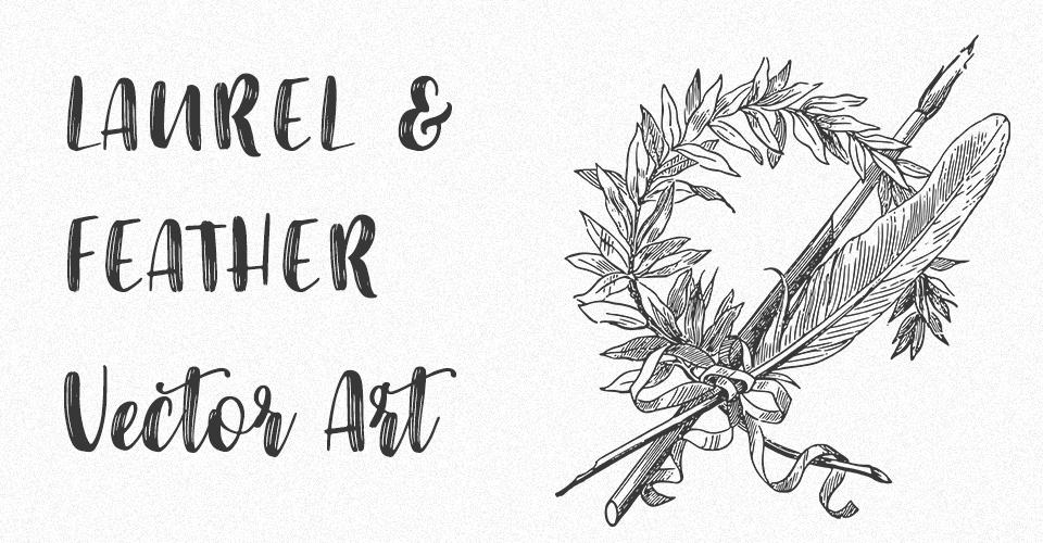 Laurel Wreath and Feather Vector Art