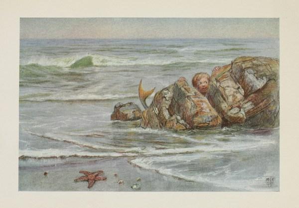 Mermaid Child Vintage Illustration