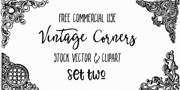 Ornate Vintage Corners Vector & Images Set 2