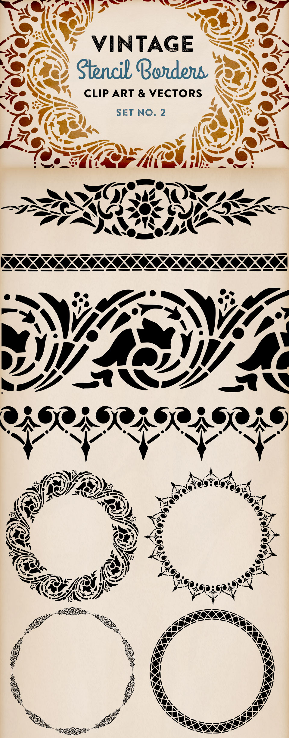 8 More Beautiful Border Clip Art Images Sourced from Vintage Stencils