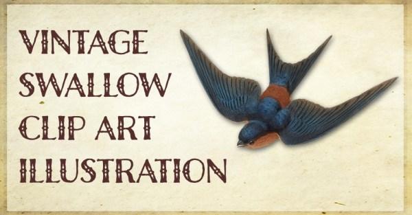Vintage Swallow Clip Art Illustration