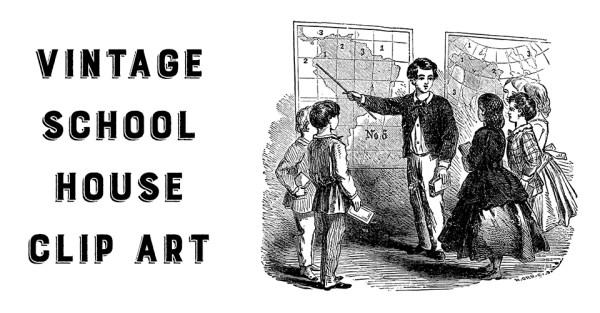 Vintage School House Clip Art