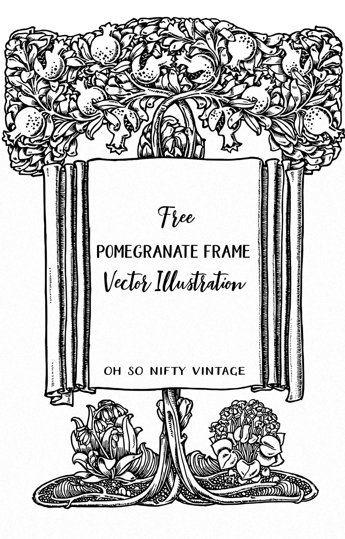 Pomegranate Frame Vector Illustration