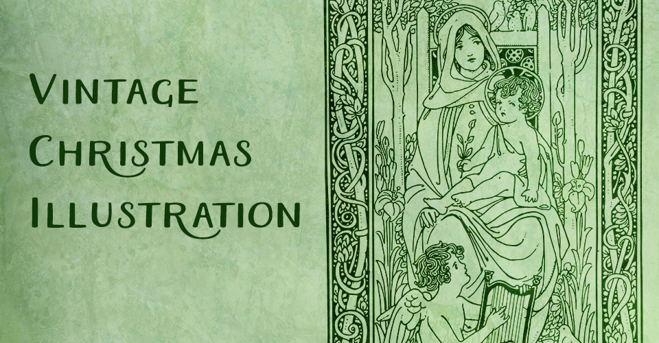 Vintage Happy Christmas Illustration