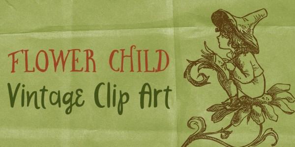 Cute Flower Child Vintage Clip Art
