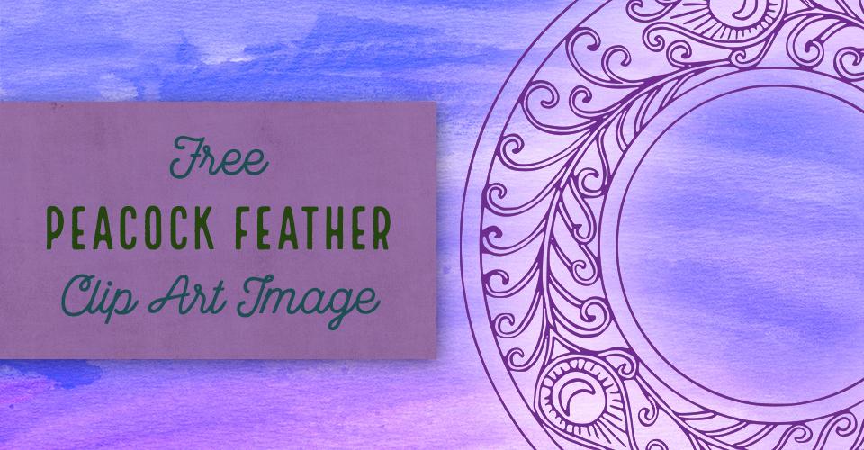 Peacock Feather Circle Frame Vector Clip Art