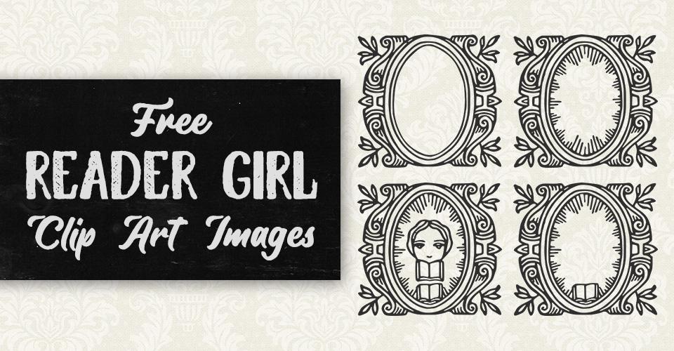 Free Reader Girl Border Vector Clip Art Images