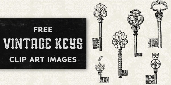 Unique Vintage Keys Vector Clip Art
