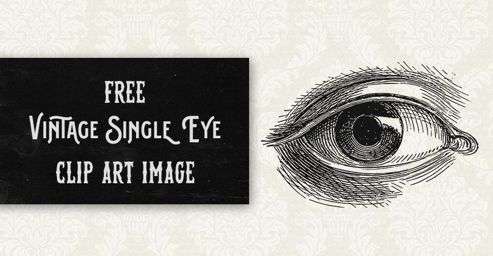 Free Vintage Single Eye Vector Clip Art