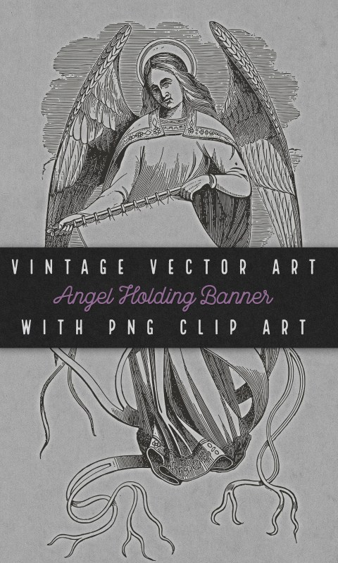 Vintage Angel with Banner Vector Clip Art