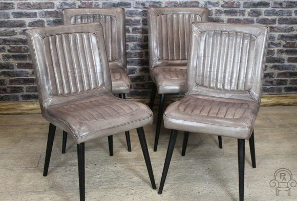 INDUSTRIAL STYLE CLAY LEATHER DINING CHAIR