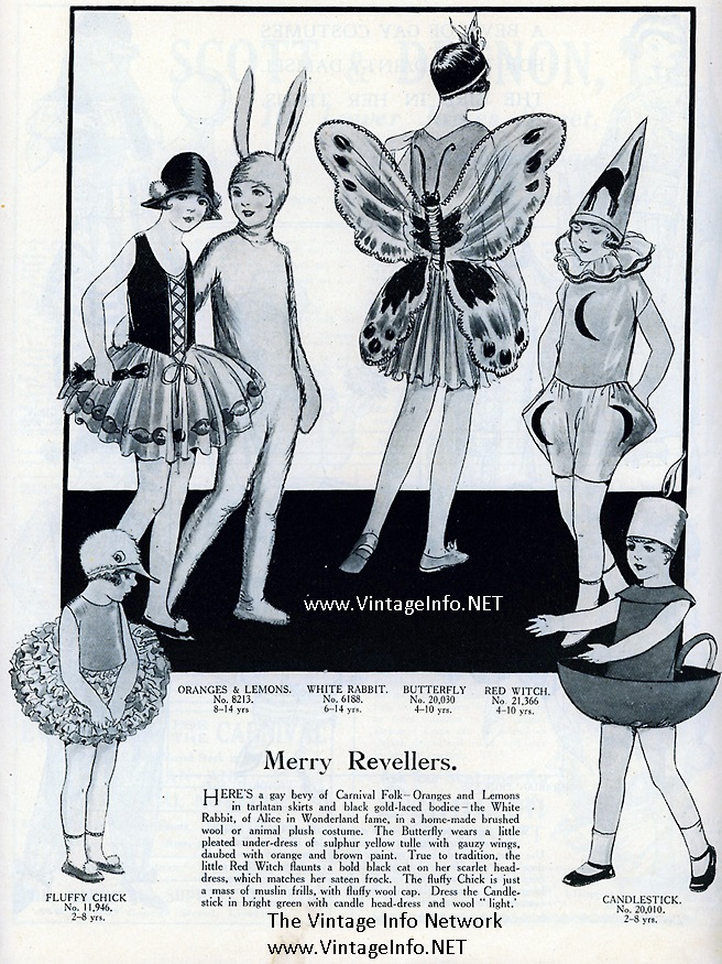 Merry Revellers Children's Costumes for Halloween http://vintageinfo.net/childrens-halloween-costumes-from-the-1920s/