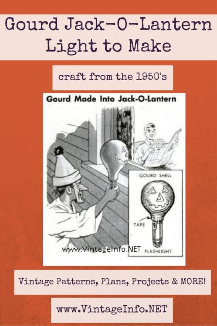 Gourd Jack-O-Lantern Light http://vintageinfo.net/make-a-gourd-jack-o-lantern-for-halloween/ #halloweencraft