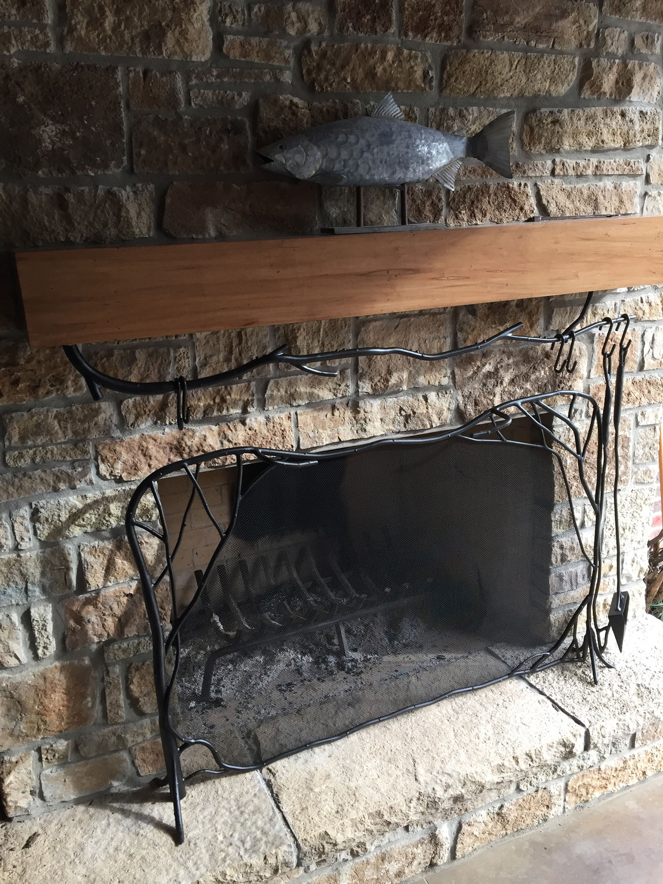 fireplace mantel and screen